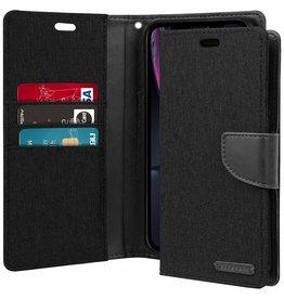 Mercury Goospery iPhone XR hoes - Mercury Canvas Diary Wallet Case - Zwart