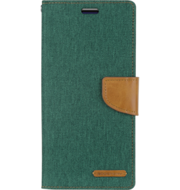 Mercury Goospery LG G8 ThinQ hoes - Mercury Canvas Diary Wallet Case - Groen