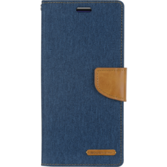Motorola Moto G7 Play hoes - Mercury Canvas Diary Wallet Case - Blauw