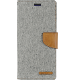 Mercury Goospery Samsung Galaxy A70 hoes - Mercury Canvas Diary Wallet Case - Grijs