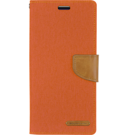 Mercury Goospery Samsung Galaxy A8 Plus (2018) hoes - Mercury Canvas Diary Wallet Case - Oranje