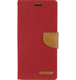 Mercury Goospery Samsung Galaxy A8 Plus (2018) hoes - Mercury Canvas Diary Wallet Case - Rood