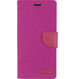 Mercury Goospery Samsung Galaxy A8 Plus (2018) hoes - Mercury Canvas Diary Wallet Case - Roze