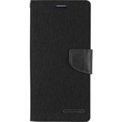 Samsung Galaxy A8 Plus (2018) hoes - Mercury Canvas Diary Wallet Case - Zwart