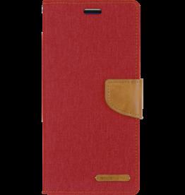 Mercury Goospery Samsung Galaxy J4 Plus hoes - Mercury Canvas Diary Wallet Case - Rood