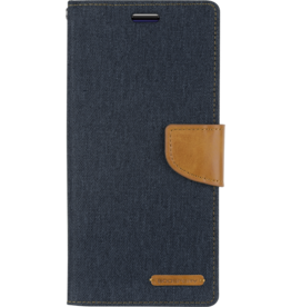 Mercury Goospery Samsung Galaxy J6 Plus hoes - Mercury Canvas Diary Wallet Case - Donker Blauw