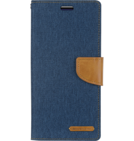 Mercury Goospery Samsung Galaxy M20 hoes - Mercury Canvas Diary Wallet Case - Blauw