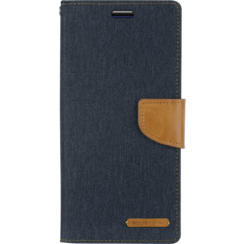 Samsung Galaxy M20 hoes - Mercury Canvas Diary Wallet Case - Donker Blauw