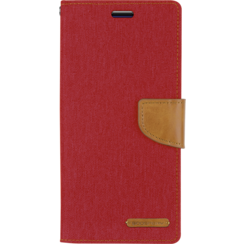 Samsung Galaxy M20 hoes - Mercury Canvas Diary Wallet Case - Rood