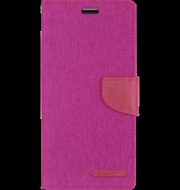 Mercury Goospery Samsung Galaxy M20 hoes - Mercury Canvas Diary Wallet Case - Roze