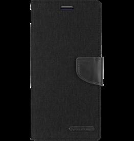 Mercury Goospery Samsung Galaxy M20 hoes - Mercury Canvas Diary Wallet Case - Zwart