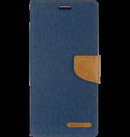 Mercury Goospery Samsung Galaxy S10 Plus hoes - Mercury Canvas Diary Wallet Case - Blauw