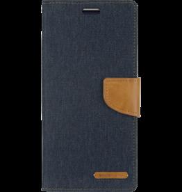 Mercury Goospery Samsung Galaxy S10 Plus hoes - Mercury Canvas Diary Wallet Case - Donker Blauw