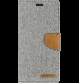 Mercury Goospery Samsung Galaxy S10 Plus hoes - Mercury Canvas Diary Wallet Case - Grijs