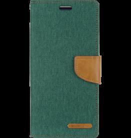 Mercury Goospery Samsung Galaxy S10 Plus hoes - Mercury Canvas Diary Wallet Case - Groen