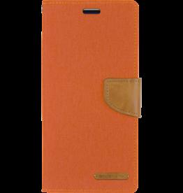 Mercury Goospery Samsung Galaxy S10 Plus hoes - Mercury Canvas Diary Wallet Case - Oranje