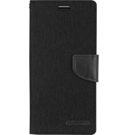 Mercury Goospery Samsung Galaxy S10 Plus hoes - Mercury Canvas Diary Wallet Case - Zwart