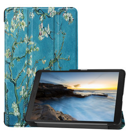 Cover2day Samsung Galaxy Tab A8 (2019) hoes - Tri-Fold Book Case - Witte Bloesem