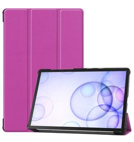 Case2go Samsung Galaxy Tab S6 hoes - Tri-Fold Book Case - Paars