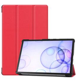 Serise Samsung Galaxy Tab S6 hoes - Tri-Fold Book Case - Rood