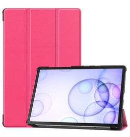 Case2go Samsung Galaxy Tab S6 hoes - Tri-Fold Book Case - Magenta