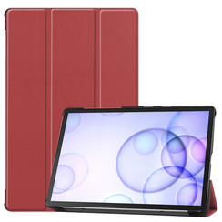 Samsung Galaxy Tab S6 hoes - Tri-Fold Book Case - Donker Rood