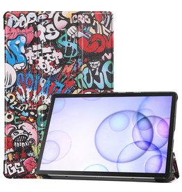 Case2go Samsung Galaxy Tab S6 hoes - Tri-Fold Book Case - Graffiti