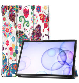 Case2go Samsung Galaxy Tab S6 hoes - Tri-Fold Book Case - Vlinders