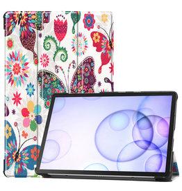 Serise Samsung Galaxy Tab S6 hoes - Tri-Fold Book Case - Vlinders