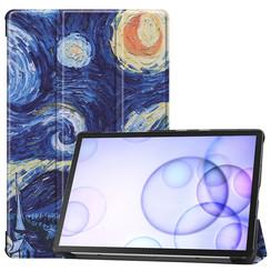 Samsung Galaxy Tab S6 hoes - Tri-Fold Book Case - Sterrenhemel
