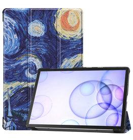 Serise Samsung Galaxy Tab S6 hoes - Tri-Fold Book Case - Sterrenhemel