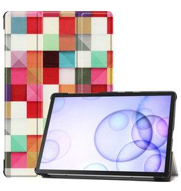 Case2go Samsung Galaxy Tab S6 hoes - Tri-Fold Book Case - Blocks