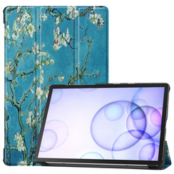 Samsung Galaxy Tab S6 hoes - Tri-Fold Book Case - Witte Bloesem