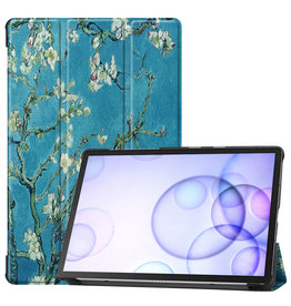 Case2go Samsung Galaxy Tab S6 hoes - Tri-Fold Book Case - Witte Bloesem