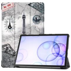Samsung Galaxy Tab S6 hoes - Tri-Fold Book Case - Eiffeltoren