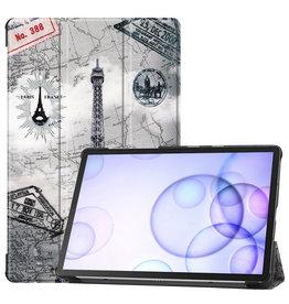 Serise Samsung Galaxy Tab S6 hoes - Tri-Fold Book Case - Eiffeltoren
