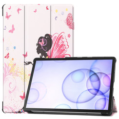 Samsung Galaxy Tab S6 hoes - Tri-Fold Book Case - Flower Fairy