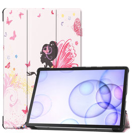 Case2go Samsung Galaxy Tab S6 hoes - Tri-Fold Book Case - Flower Fairy