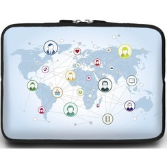 Universele Laptop Sleeve - 15.6 inch - Social World Map