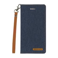 iPhone X/Xs hoes - Mercury Canvas Flip Wallet Case - Donker Blauw
