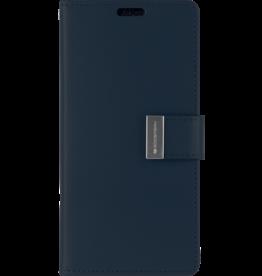 Mercury Goospery iPhone XS Max Wallet Case - Goospery Rich Diary - Donker Blauw