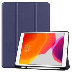 iPad 10.2 inch (2019) hoes - Tri-Fold Book Case met Apple Pencil houder - Donker Blauw
