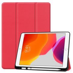 iPad 10.2 inch (2019) hoes - Tri-Fold Book Case met Apple Pencil houder - Rood