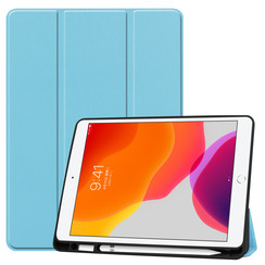 iPad 10.2 inch (2019) hoes - Tri-Fold Book Case met Apple Pencil houder - Licht Blauw