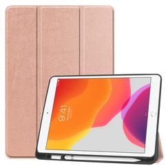 iPad 10.2 inch (2019) hoes - Tri-Fold Book Case met Apple Pencil houder - Rosé Goud