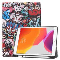 iPad 10.2 inch (2019) hoes - Tri-Fold Book Case met Apple Pencil houder - Graffiti