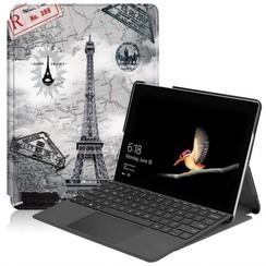 Microsoft Surface Go (1 & 2) Tri-Fold Book Case met eiffeltoren