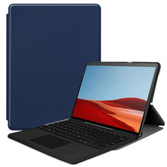 Microsoft Surface Pro X hoes - Tri-Fold Book Case - Donker Blauw