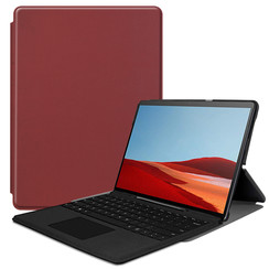 Microsoft Surface Pro X hoes - Tri-Fold Book Case - Donker Rood