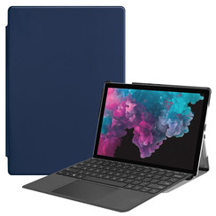 Microsoft Surface Pro 7 hoes - Tri-Fold Book Case - Donker Blauw